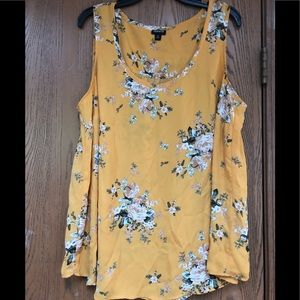 Torrid mustard colored floral blousy tank